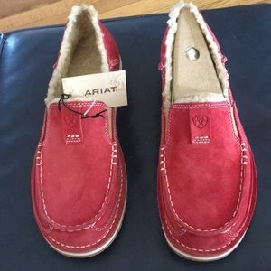 NWT Leather strawberry suede loafer shoes.